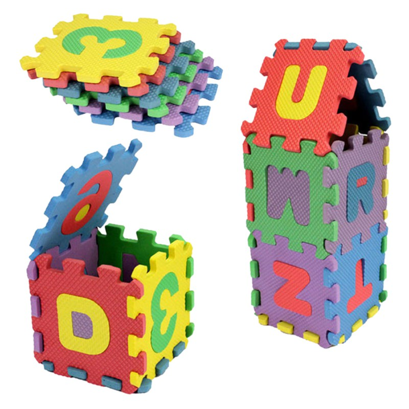 36 PCS Baby děti Alphanumeric Educational Puzzle Kojenecká dětská hračka Gift Digitální abeceda Bubble Puzzle Mats