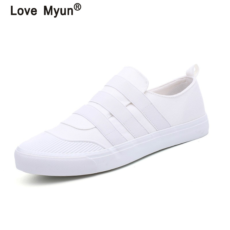 New Spring Autumn Men Casual White Canvas Shoes Breathable Black Slip-On Canvas Shoes High Quality Men Flats Shoes