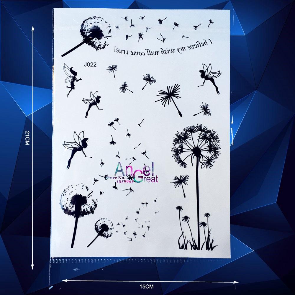 Hot Sale Fashion Dandelion Fairy Tales Designs Black Henna Temporary Tattoo Sexy Body Art Arm Elf Pattern Tattoo Stickers Makeup