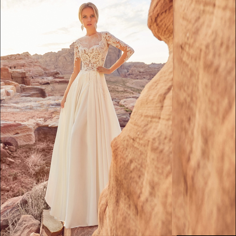 SoDigne Beach Wedding Dress Long Sleeves Appliques Lace Princess A Line Bride Dress Wedding Gown Custom Made