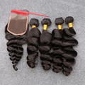 Virgin Human Hair With Closure Peruvian Loose Wave With Closure 5 Pcs Weave With Closure 4 Bundles With Lace Closure