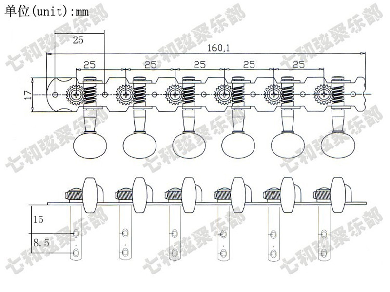 Qhx A Set 2 Pcs 6r6l Chrome 12 String Acoustic Guitar Tuning Pegs