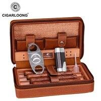 Free Ship Black Brown Cohiba Cigar Case Humidor Portable Cedar Wood Leather Travel Humidor Humidifier Set Gift Box HH 1040