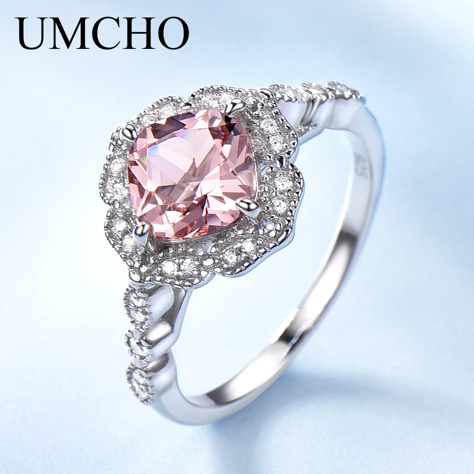 UMCHO Created Nano Morganite Rings 925 Sterling Silver Flower Rings For Women Engagement Anniversary Wedding Gift Fine Jewelry