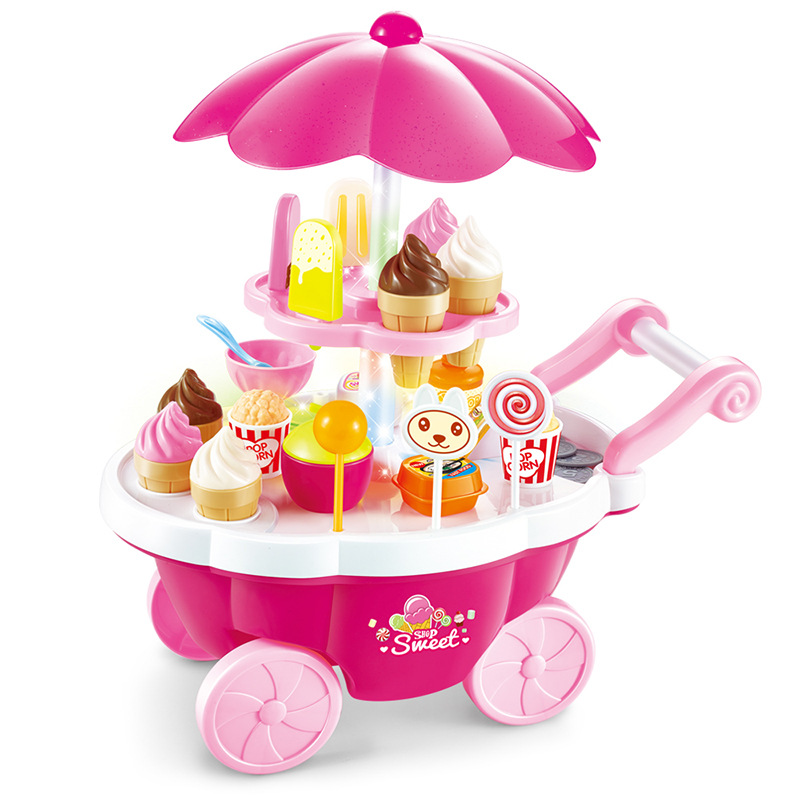 Sweet Cart Baby Creative Diy Pretend Play Kids Kitchen Toys Set Mini Candy Car Ice Cream Shop Supermarkets Machine Music Doll ice cream cart toy