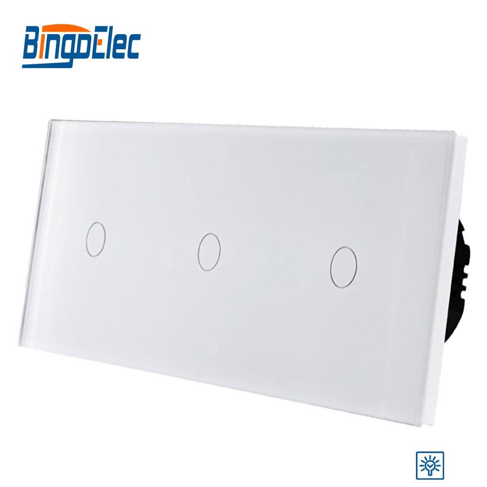 Bingo EU standard, mur de luxe Triple gang tactile gradateur avec panneau en verre cristal, offre spéciale de AC110-250V