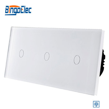 Bingoelec EU Standrad, Luxury Wall Triple Gang Touch Dimmer Switch With Waterproof Crystal Glass Panel,AC110-250V Hot Sale