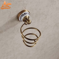 Classical Wall Mounted Hair Drier Holder Antique Brass