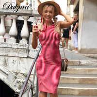 Dulzura-vestido rojo de Raya vertical sin espalda, con encaje, sin mangas, halter, ceñido, hasta la rodilla, sexy, Otoño, 2018