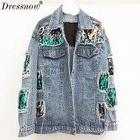 Dressnow Для женщин блесток джинсовая куртка в стиле панк с заклепками queen Весна джинсовые куртки и пальто свободные уличная