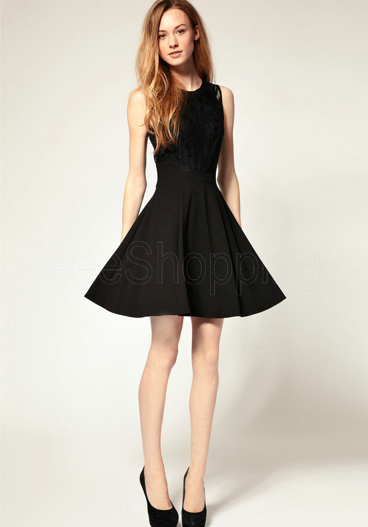 Q186 Europe Celebrity Womens Sexy Lace Sleeveless Black Expansion