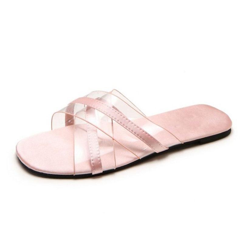 Vacances Appartements De Femmes Sandales Aicciaizzi Transparent Quotidienne Mode Taille Pantoufles vert Bout 35 À 39 Ouvert Classique Chaussures rose Noir 7d4wYdq