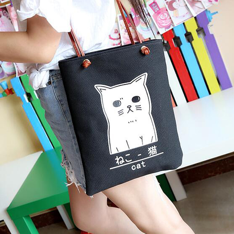 Foldable Tote Women Shopping Bags Canvas Large Cartoon Cat Shoulder Bag Lady Handbag Pouch Eco Reusable Shopping Bag Tote Pocket new style cartoon fruit lemon eco bag useful nylon foldable reusable shopping bags