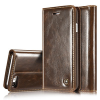 High Quality Leather Case For Iphone 6 6S 7 Plus Flip Wallet Cover For Apple Iphone