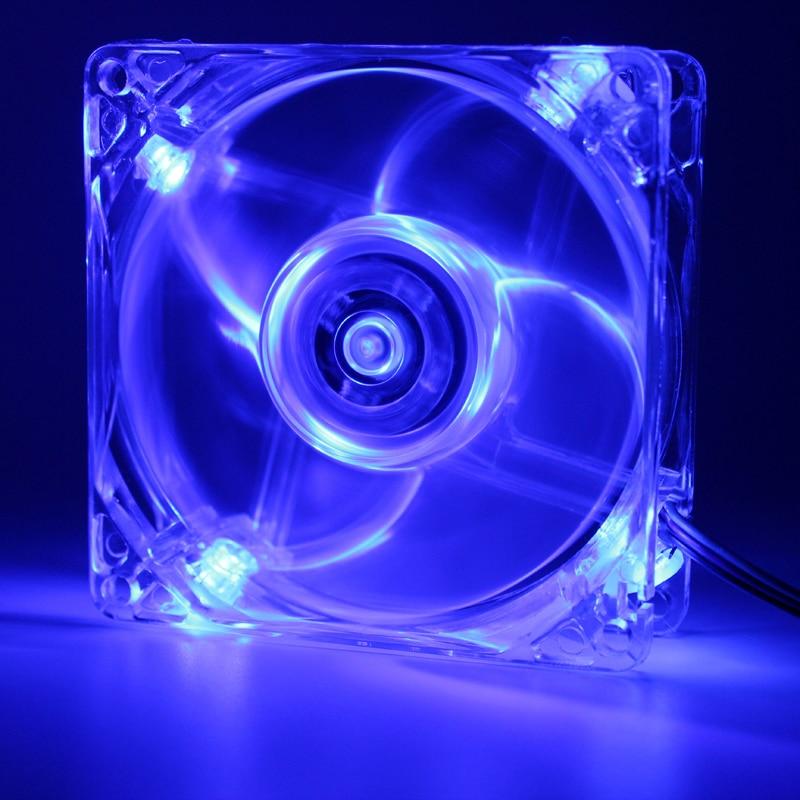 Ordinateur 80mm, 8 cm LED ordinateur de bureau boîtier ventilateur de refroidissement transparent, connecteur 3 broches et 4 broches, avec vis, silencieux