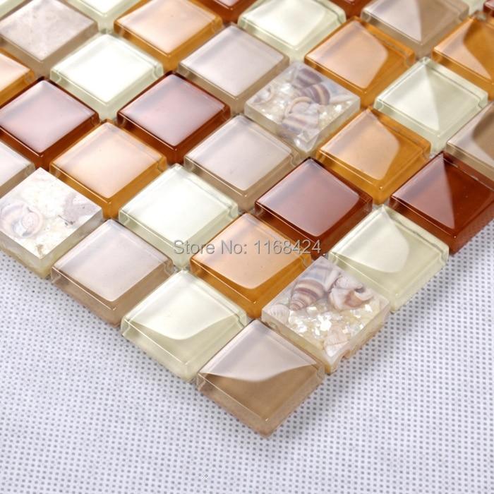 Orange Kitchen Backsplash Tile: Orange Color Shining Glass Mosaic Tiles For Kitchen