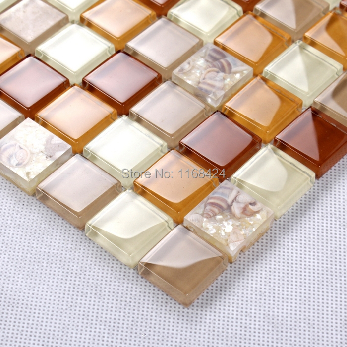 orange color shining glass mosaic tiles for kitchen ...