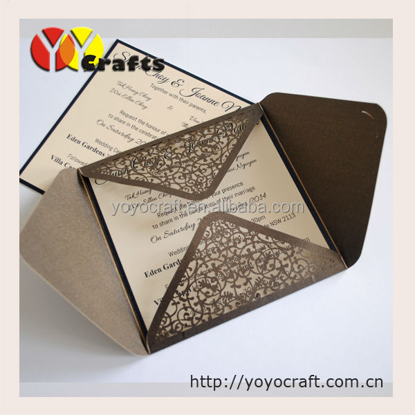 Outter Cards Wedding Party Invitation Cards Laser Cut Wedding