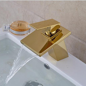 Free shipping Single handle gold waterfall mixer tap with deck mounted solid brass golden bathroom basin sink water mixer tap
