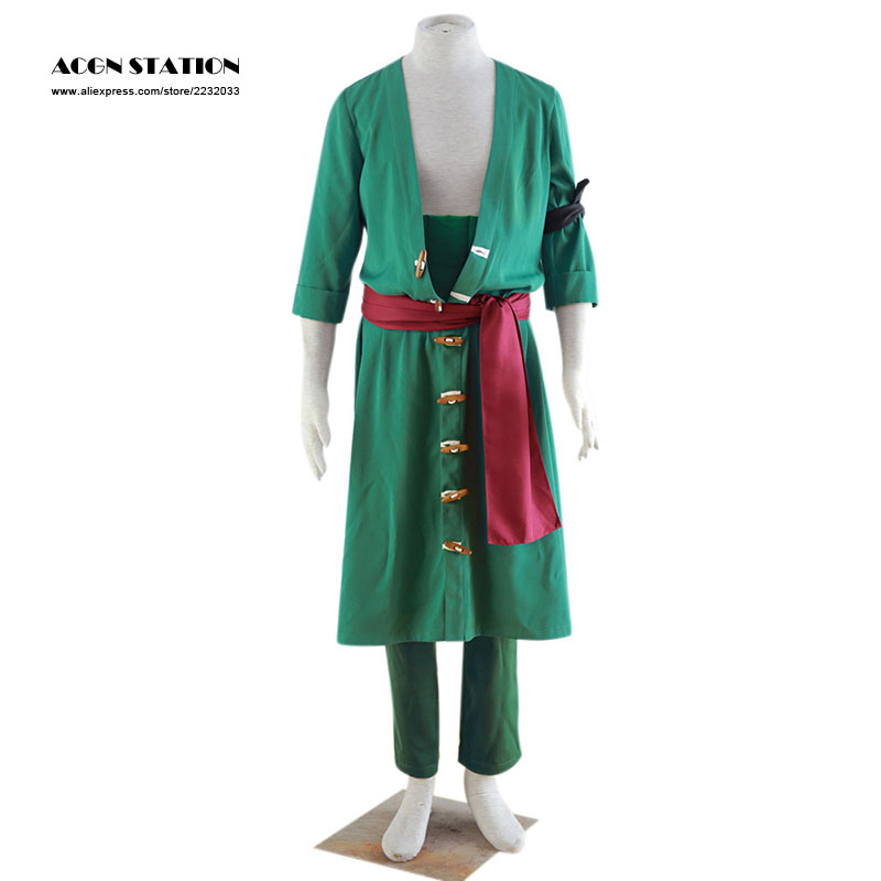 2018 Customize for adults and kids  Free Shipping Popular Anime One Piece Roronoa Zoro Adult Halloween Cosplay Costume