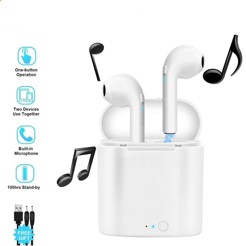 Image 2 - I7 i7s TWS Wireless fone de ouvido for xiaomi in ear Bluetooth Earphone Earbuds Headset With Mic For iPhone all smart phone-in Bluetooth Earphones & Headphones from Consumer Electronics