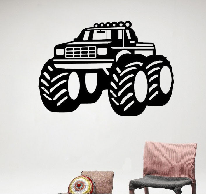 Monster Truck Wall Stickers Part - 28: Boys Room Decor Big Monster Truck Wall Decals Vinyl Stickers Home Decor  Nursery Wall Decal Childrens