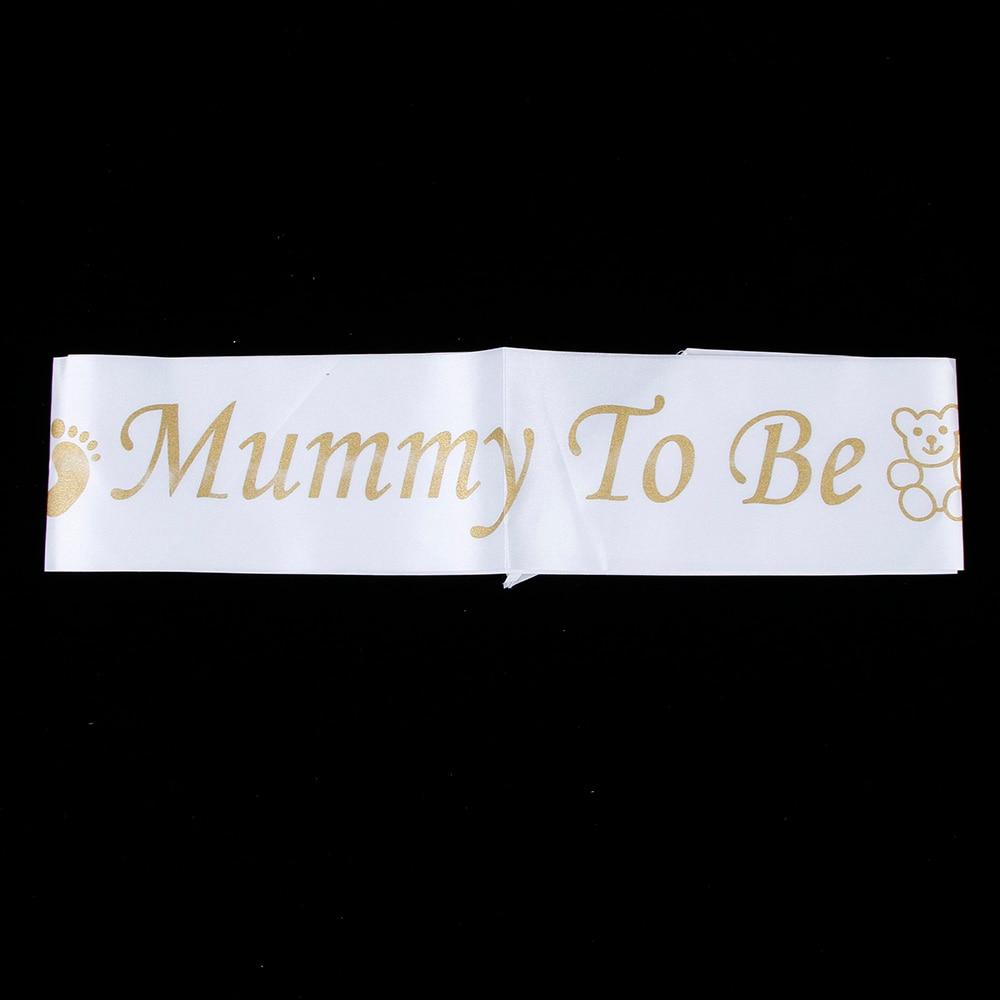 Footprint Bear Mummy To Be Satin Ribbon Sash New Mom Baby Shower Party Favor  FO