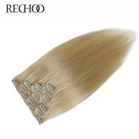 Rechoo 613 Straight Clip In Human Hair Extensions Malaysian Non Remy Light Blonde Hair Clips In