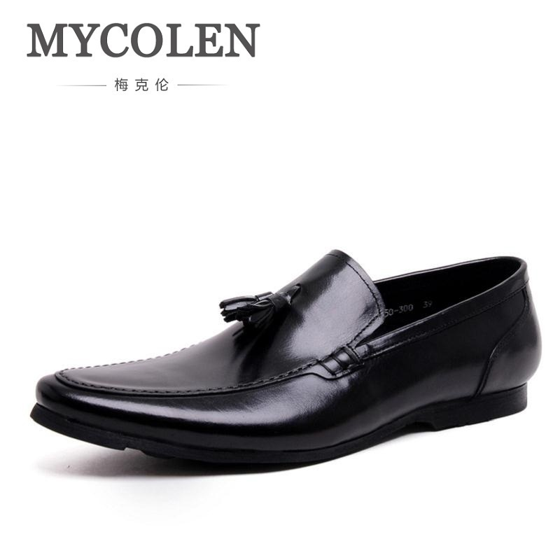 MYCOLEN Luxurious Pointed Toe Men Shoes Moccasins Handmade Men Dress Shoes Flats Slip On Vintage Tassel Male Leather Footwear pu pointed toe flats with eyelet strap