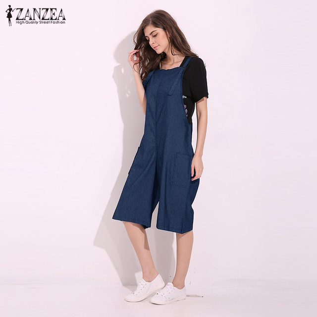 ZANZEA Womens Jumpsuits 2018 Adjustable Strappy Dungaress Pockets Wide Leg Denim Blue Retro Rompers Calf Length Bib Overalls