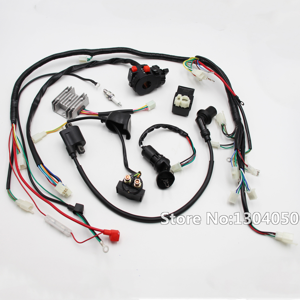 full wiring harness gy6 150cc 125cc electrics buggy scooter wire loom ignition coil soleniod atv quad [ 1000 x 1000 Pixel ]