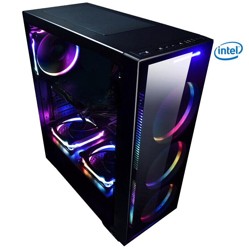 Z1-2 Gaming Desktop PC Intel i7 8700 3.2GHz 120mm Water liquid Cooling GTX 1070Ti 240GB SSD 8GB RAM Computer Home Colorful Fans 3