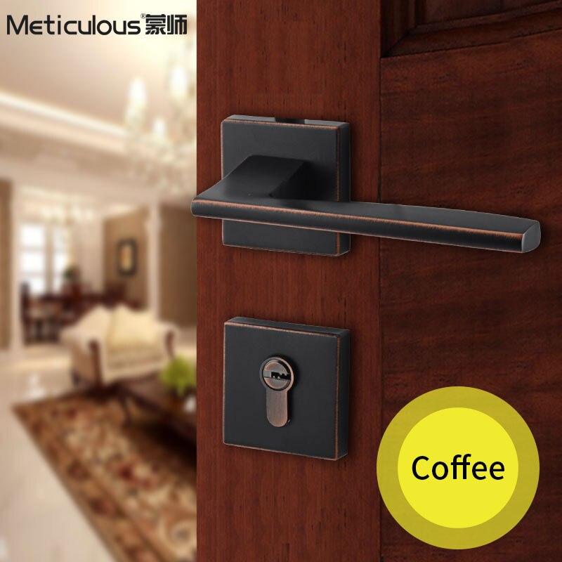 Méticulou Split silencieux serrure Mortice poignées de porte serrure-noyau maison porte intérieure en bois porte lockset intérieur chambre keylock