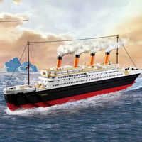 1012 Uds Titanic RMS juegos de barcos modelo bloques de construcción Titan DIY ciudad ladrillos pasatiempos juguetes educativos para niños Drop