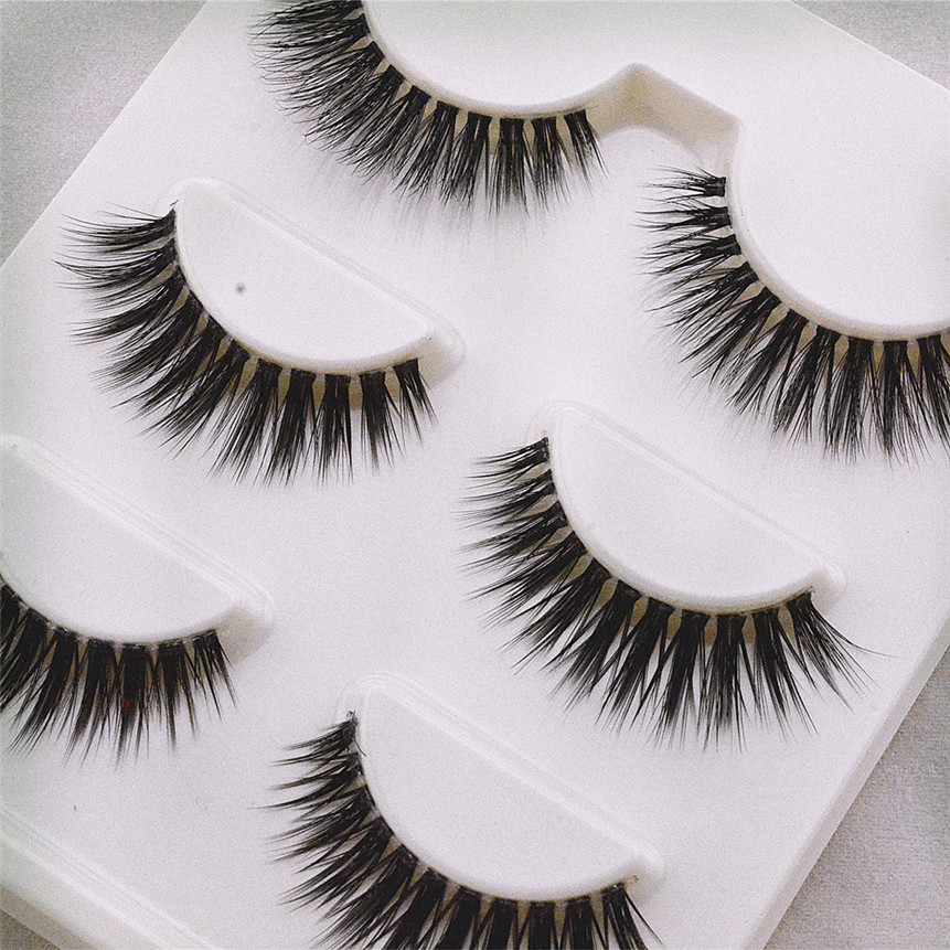 OutTop 3 pairs 3D Dense Eye Tail Lengthening Multi Layer Soft Stem With Pure Artificial Eyelash Drop Shipping 8m09