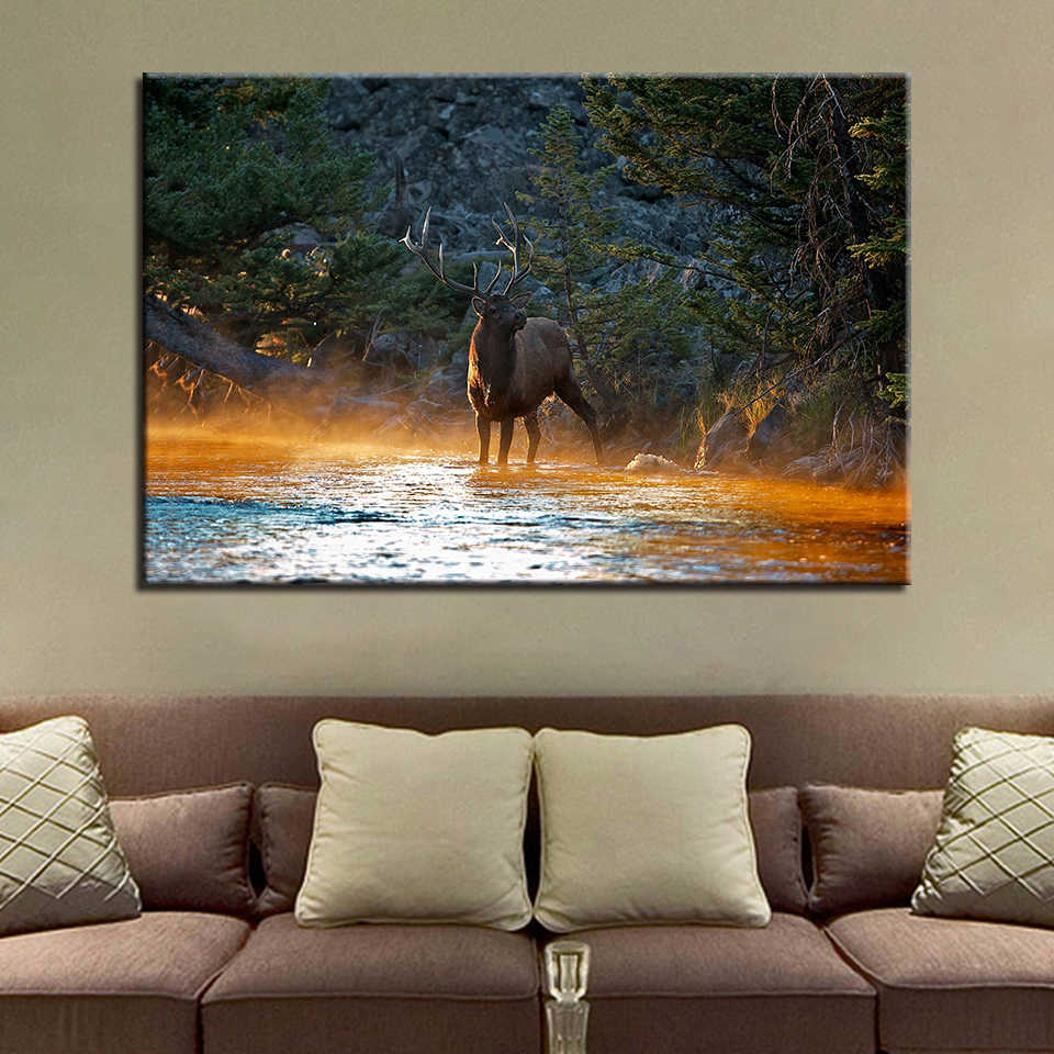 Canvas Paintings Wall Art Home Decor 1 Piece/Pcs Animal Deer Pictures HD Prints Elk Forest Lake Poster For Living Room Framework