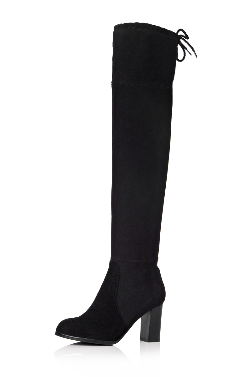 ФОТО High-quality Women Over the Knee Boots Round Toe Square Heels Boots Elegant Black Shoes Woman US Size 3.5-12
