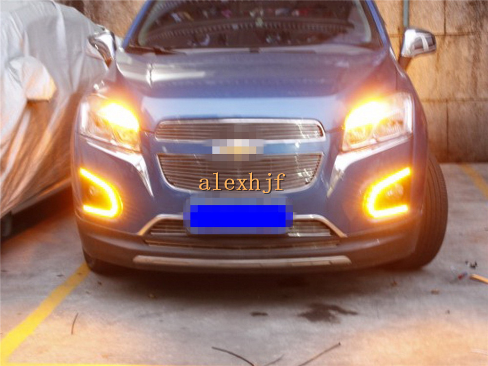 July King LED Daytime Running Lights DRL, LED Fog Lamp With Yellow Turn Signals Case for Chevrolet Trax 2013-2016, U LED version july king led daytime running lights drl at headlight lamp eyebrow yellow turn signals case for buick ncore opel mokka 2013 on