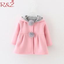 R& Z/Детская куртка новинка года, осенне-зимняя хлопковая куртка с заячьими ушками для девочек детское плотное хлопковое пальто с капюшоном
