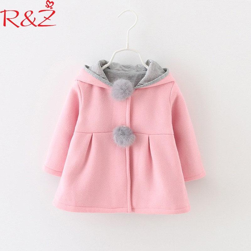 R&Z Children's Jacket 2019 Autumn And Winter New Girls Cotton Cartoon Rabbit Ears Jacket Children's Thick Hooded Cotton Coat
