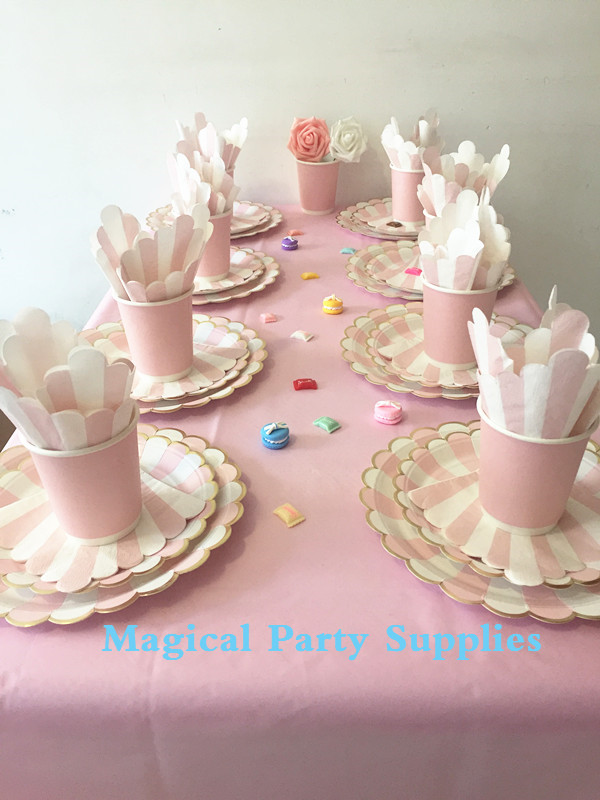 Bridal Shower Party Tableware Set For 16 People With Pink And Gold Paper Plates Cup Napkin Table Cloth Ridal Decorations In Disposable