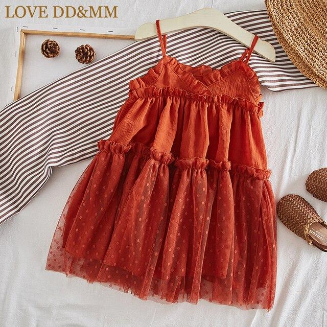 Miłość DD & MM dziewczyny sukienki 2019 letnie nowe ubrania dla dzieci dziewczyny w stylu zagranicznym bez rękawów siatki procy księżniczka sukienka