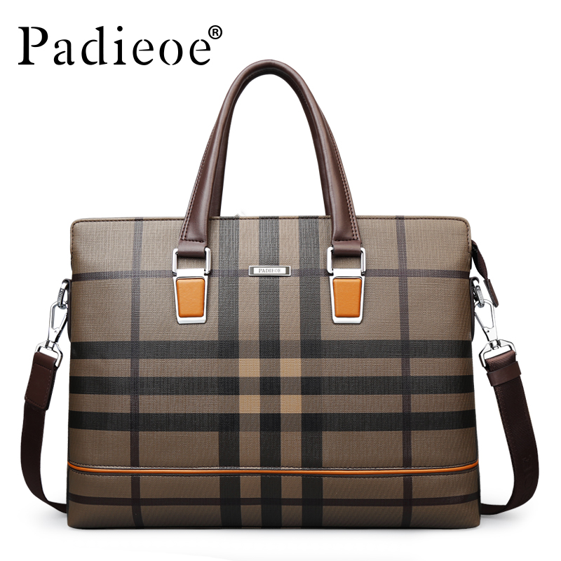 Padieoe New Men's Briefcase Lattice Pattern Fashion Shoulder Bag Famous Brand Handbags High Quality Tote Laptop Bag For Men tonneau boston triangular lattice women men briefcase rhombus splice fashion baobao girl or ol ladies handbags for from japan