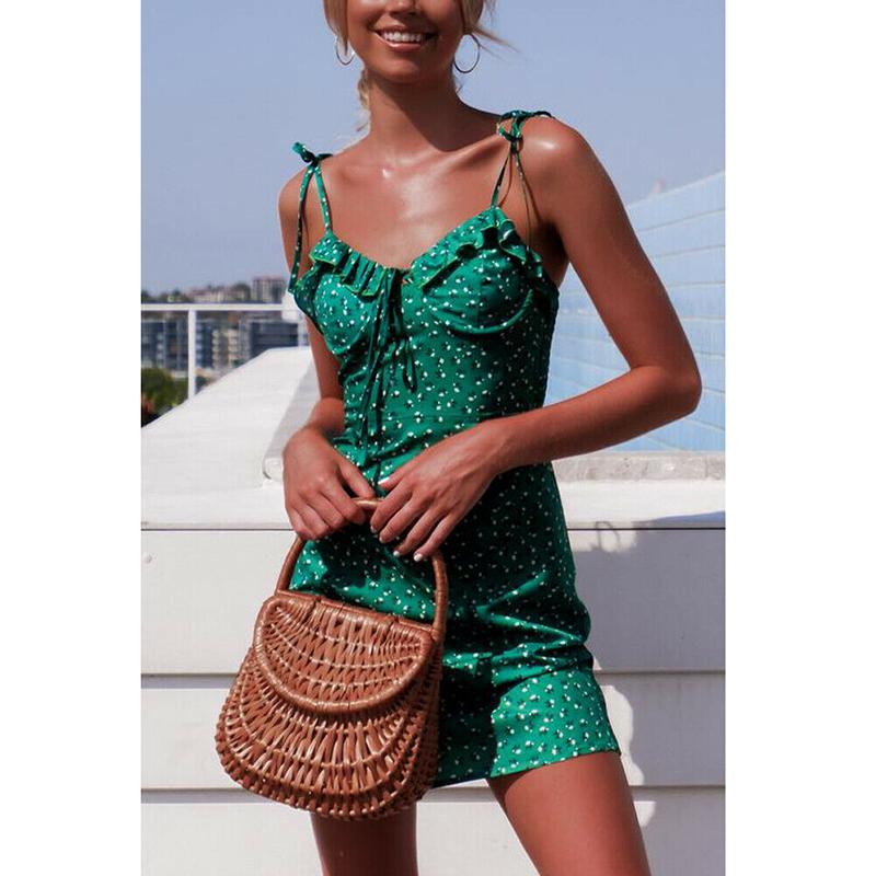 Women's Floral Mini Summer Dress Sleeveless Bandage Sexy Elegant Ladies Party Beach Dresses Sundress vestidos Fashion New 19 1