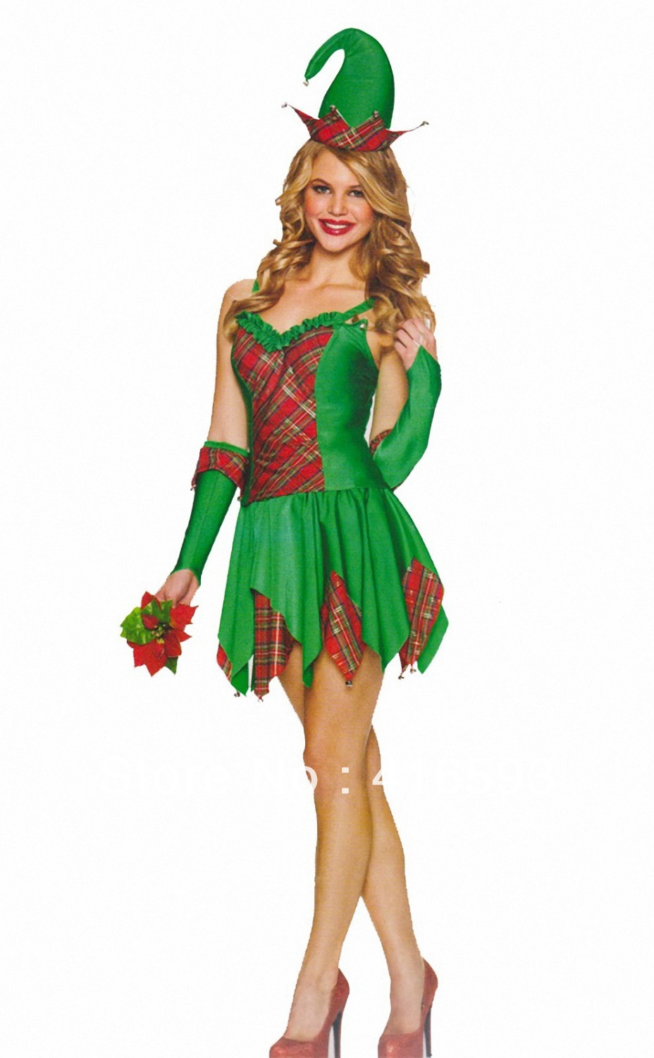 2013 New Sexy Adult Christmas Clown Costume For Women,Woman Green Halloween Costumes -3665