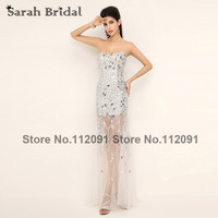 Silver Mermaid Evening Dresses Sweetheart Sexy See Through Prom Gowns Luxury Crystal Sleeveless Vestidos De Noche