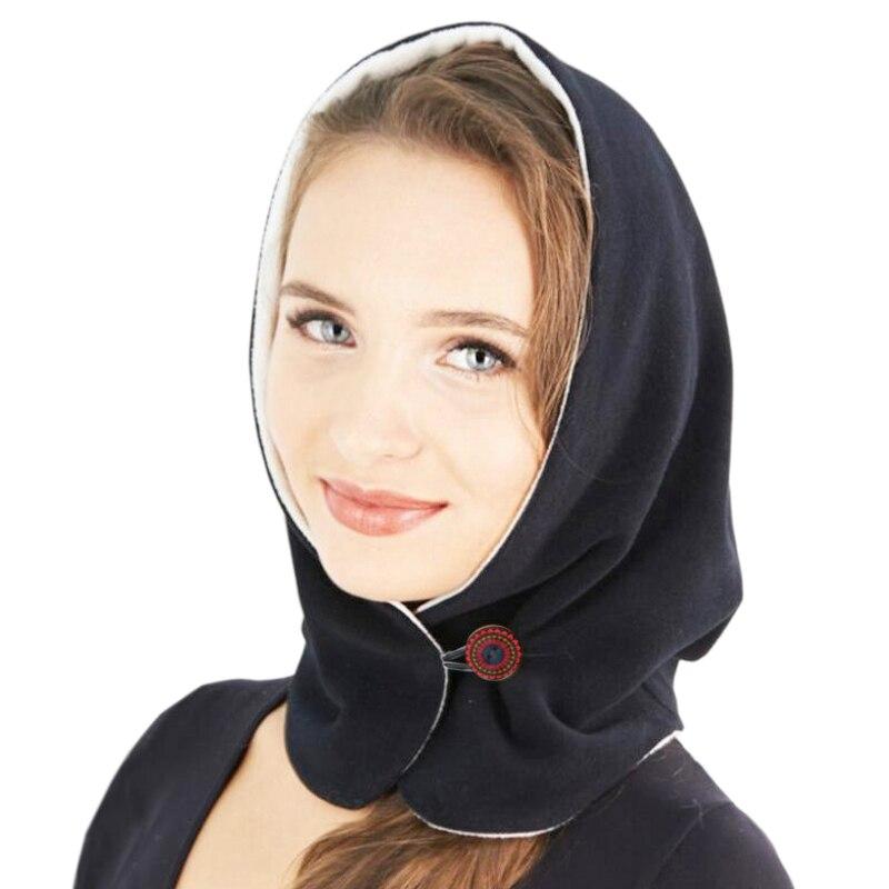 Plein air hiver chaud double couleur chapeau pour les femmes épais Double visage masque hiver cou solide Plus casquette à capuche écharpe avec bouton