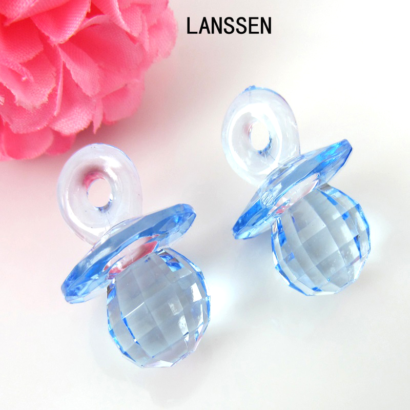 50pcs Plastic Diamond Cut Pacifiers Bead Baby Shower Favors Clear Blue Boys For Game Party Decorations 19 x 27mm