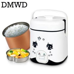 DMWD rice cooker 1.2L mini electric food cooking machine Steamed eggs steamer 110V 220V soup stew pot lunch box non-stick liner