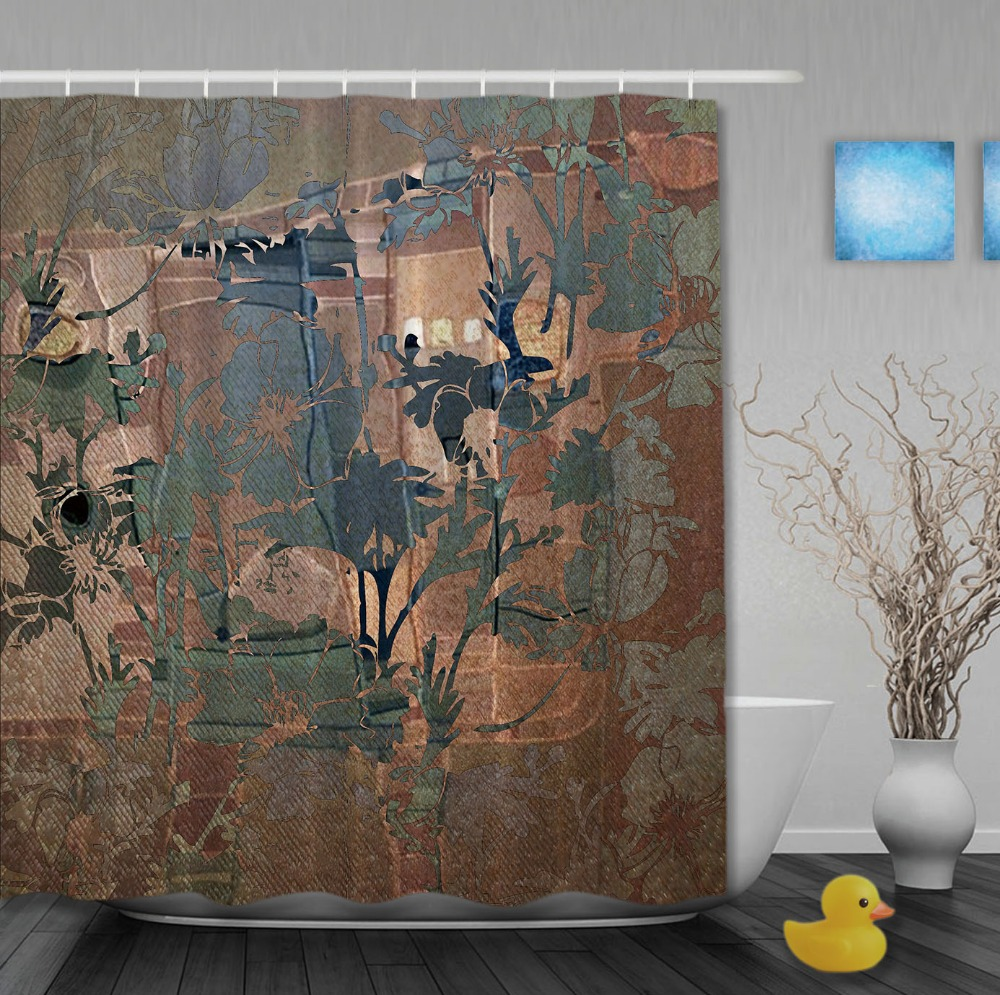 Classic Transparent Flowers European Style Shower <font><b>Curtains</b></font> Waterproof Fabric High Quality Custom Bathroom <font><b>Curtain</b></font> With Hooks